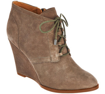 """As Is"" Franco Sarto Suede Lace-up Wedge Ankle Boots - Lennon - A290137"