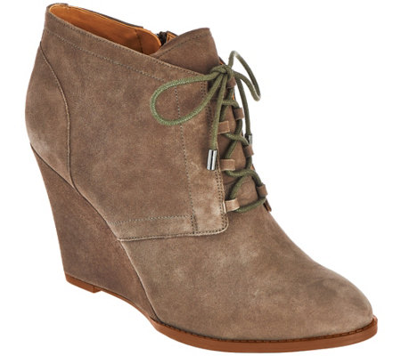 """As Is"" Franco Sarto Suede Lace-up Wedge Ankle Boots - Lennon"