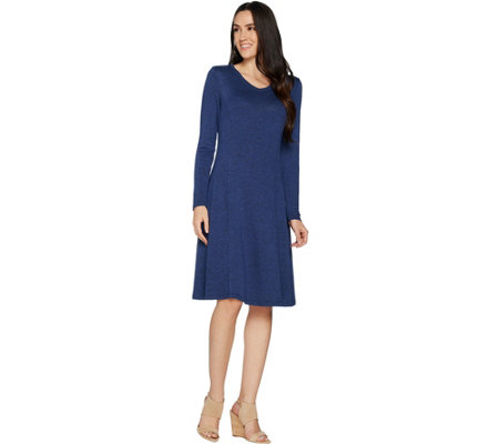H by Halston Petite Super Soft Knit V-neck A-line Dress