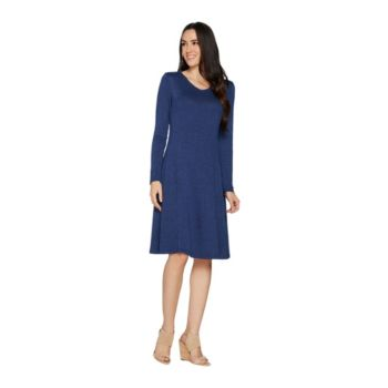H by Halston Petite Super Soft Knit V-neck A-line Dress