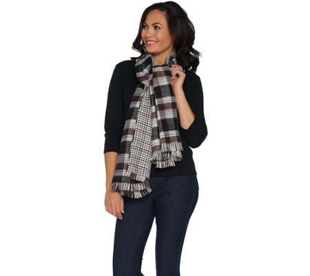 Joan Rivers Double Sided Plaid and Houndstooth Blanket Scarf