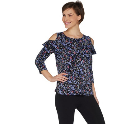 Susan Graver Printed Liquid Knit Cold Shoulder Top with Ruffles