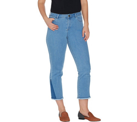 LOGO by Lori Goldstein Regular Crop Straight Leg Jeans