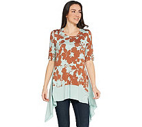 LOGO by Lori Goldstein Printed Knit Top w/ Exaggerated Hem - A305437