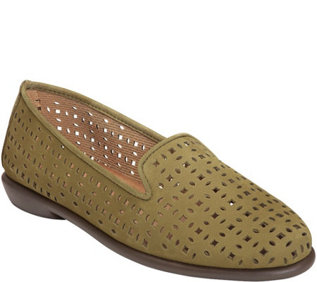 "Aerosoles Stitch ""N Turn Leather Slip-on Flats - You Betcha"