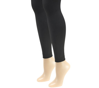 MUK LUKS Women's Fleece-Lined Footless Tights 2-Pair Pack - A335337