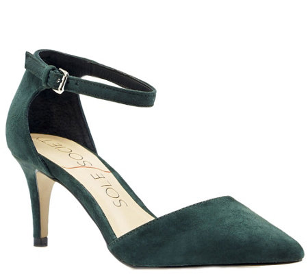 Sole Society Suede Leather Pumps with Ankle Strap - Ayla