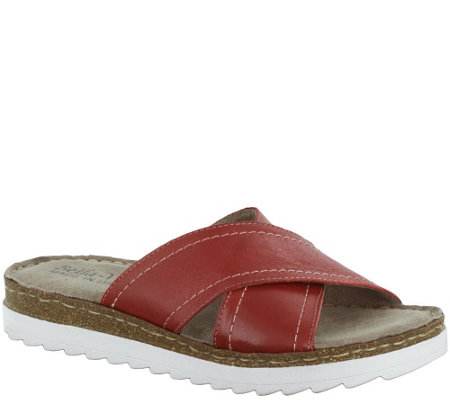 Bella Vita Leather Coss Strap Slide Sandals - Fasano