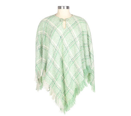 Boyne Valley Weavers Plaid Poncho with Fringe and Keyhole Closure