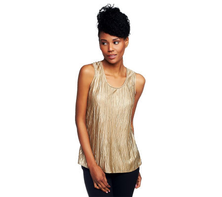 Susan Graver Metallic Crinkle Scoop Neck Layering Tank