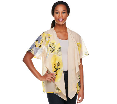 Susan Graver Printed Chiffon Cascading Open Front Cardigan