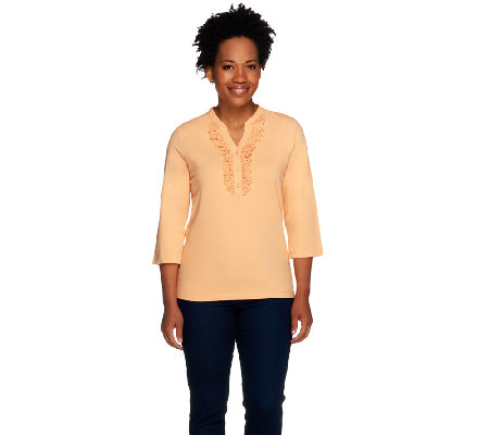 Denim & Co. 3/4 Sleeve Henley with Ruffle Eyelet Trim