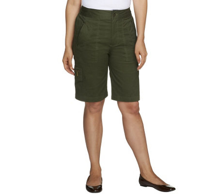 Denim & Co. Classic Waist Stretch Twill Bermuda Shorts w/ Cargo Pocket