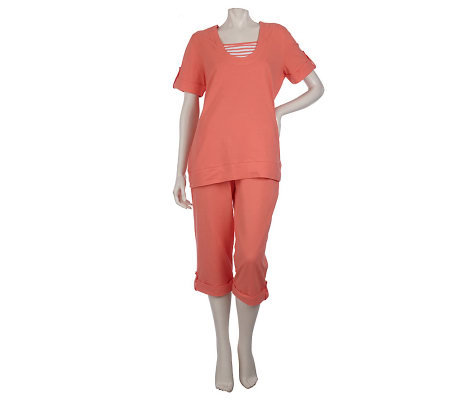 Sport Savvy Duet Pullover and Capri Pants Set with Roll Tab Detail
