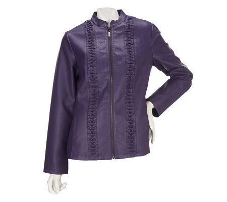 Susan Graver Faux Leather Zip Front Jacket with Mandarin Collar
