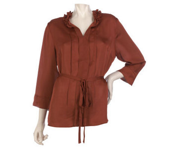 Kelly by Clinton Kelly Ruffle Neck Belted 3/4 Sleeve Blouse - A218738