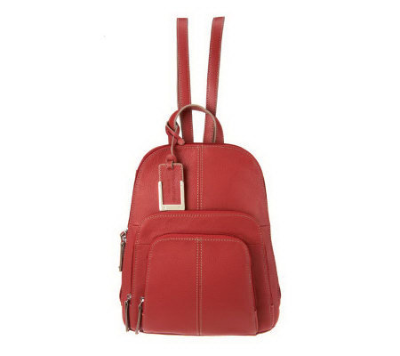 Tignanello Pebble Leather Backpack with Front Pockets