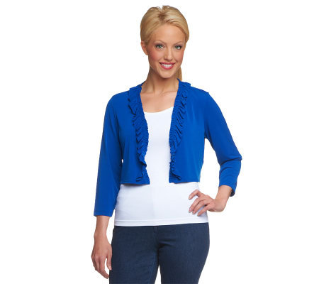 Susan Graver Essentials Liquid Knit 3/4 Sleeve Shrug