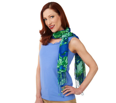 Isaac Mizrahi Live! Bombay Floral Printed Scarf with Fringe