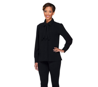 Linea by Louis Dell'Olio Button Front Blouse with Removable Tie - A228338