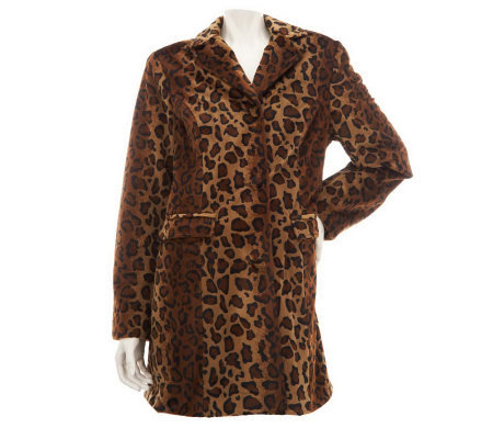 Dennis Basso Leopard Print Flat Faux Fur Notch Collar Coat