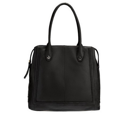 """As Is"" B. Makowsky Glove Leather Zip Top Magazine Tote"