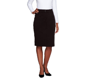 Linea by Louis Dell'Olio Wide Waist Ponte KnitSkirt w/Button Detail - A231138