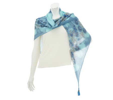 Amiee Lynn Paisley Pattern Square Scarf with Beaded Tassels