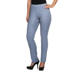Bob Mackie's Ponte Knit Side Zip & Button Closure Ankle Pants - A234638