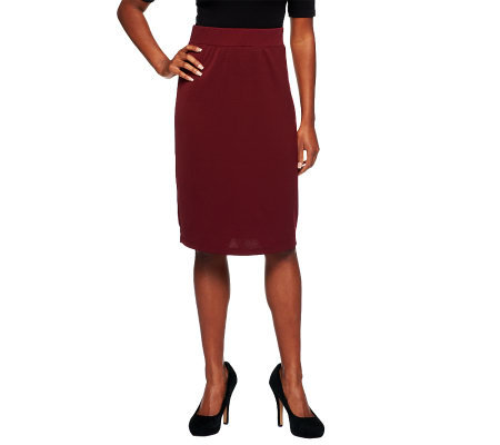 Susan Graver Milano Knit Pull-on Skirt with Flat Waistband