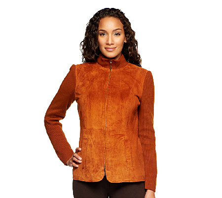 Linea by Louis Dell'Olio Suede Zip Front Jacket with Rib Trim