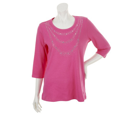 Quacker Factory Sparkle Necklace 3/4 Sleeve T-shirt