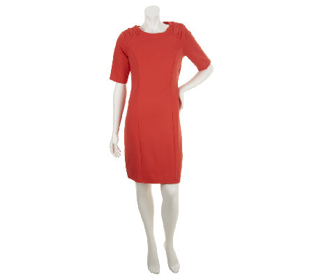 Dennis Basso Ponte Knit Sheath Dress w/ Ruched Shoulder Detail