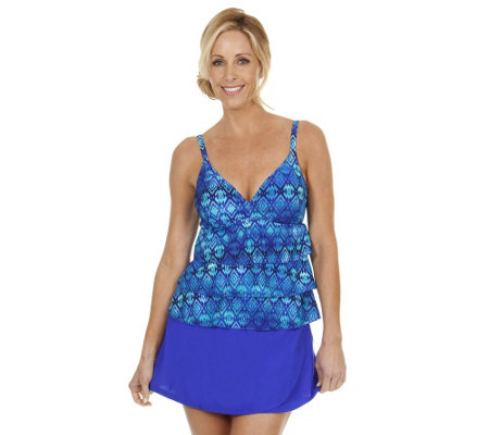 Ocean Dream Signature African Rhythm Tiered Tankini w/ Wrap Skirt