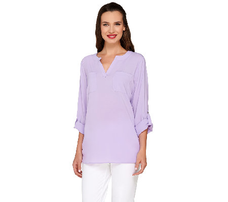 Susan Graver Stretch Woven Split Neck Tunic with Roll Tab Sleeves
