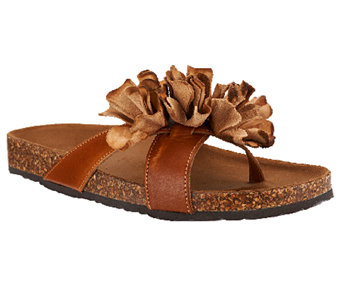 White Mountain Leather Sandals w/ Floral Detail - Sandbar - A253638