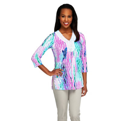 Kelly by Clinton Kelly Printed Knit Tunic with Beaded Trim
