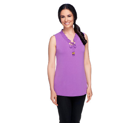 Susan Graver Liquid Knit Tank w/Gathered Neckline and Bead Detail