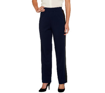 George Simonton Regular Ponte Pull-On Pants w/ Faux Leather Tuxedo Stripe - A256938