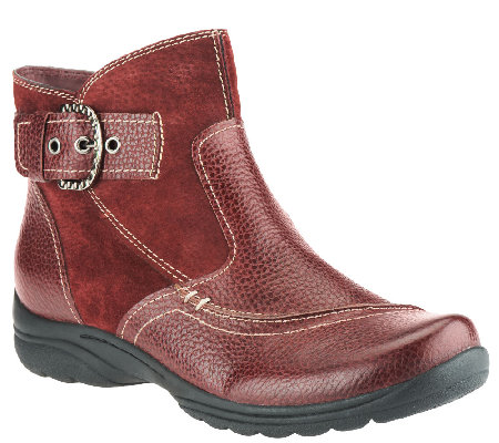 Earth Origins Leather & Suede Ankle Boots w/ Buckle - Dayton