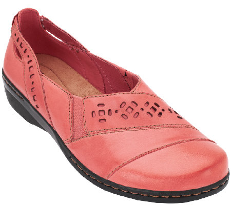 Clarks Leather Slip-on Shoes - Evianna Fig