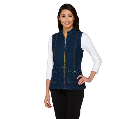 Liz Claiborne New York Zip Front Denim Vest with Stand Collar