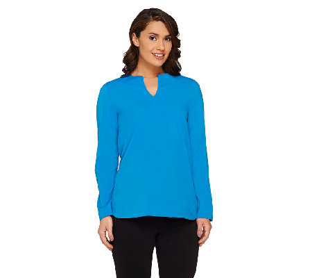 Attitudes By Renee Hi-Low Hem Tunic with Back Pleat Detail