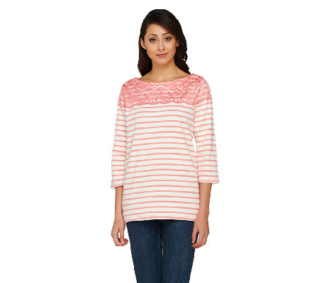 Denim & Co. Striped 3/4 Sleeve Top with Lace Yoke Detail
