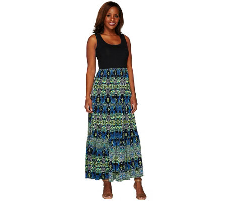 Women with Control Petite Printed Sleeveless Maxi Dress