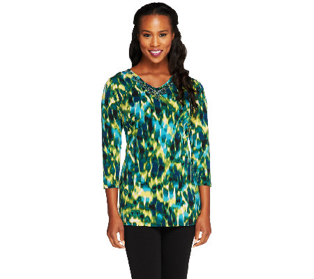 """As Is"" Susan Graver Printed Liquid Knit Embellished Tunic"