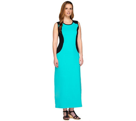 Denim & Co. Color-Block Sleeveless Scoop Neck Maxi Dress