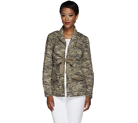 G.I.L.I. Stretch Canvas Camo Printed Jacket with Tie Front