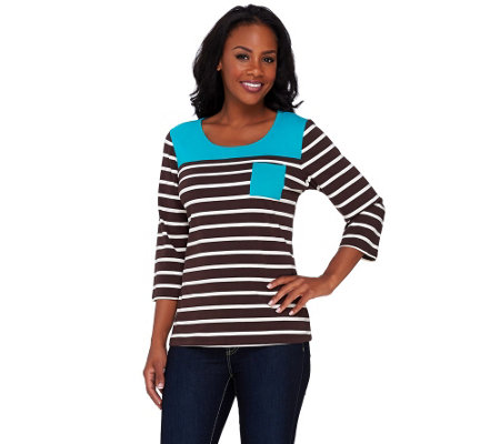 Denim & Co. 3/4 Sleeve Striped Knit Top with Colorblock Yoke