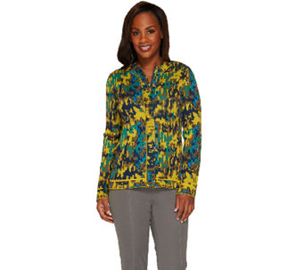 Isaac Mizrahi Live! Abstract Animal Jacquard Zip Cardigan - A267138